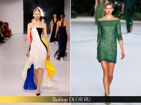 Белое платье с яркими вставками без бретелей и темно-зеленое платье-футляр