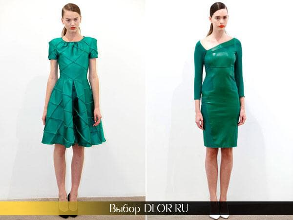 Строгие зеленые платья средней длины