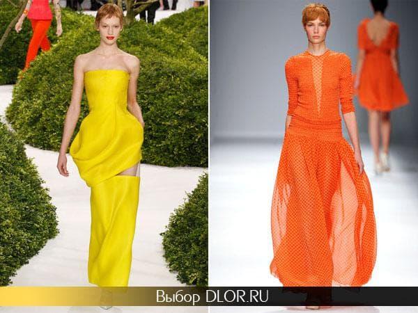 Ярко-желтое и оранжевое длинное платье
