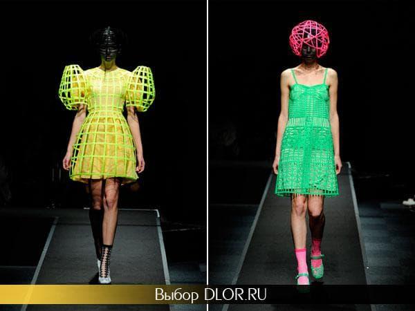 Фото креативного желтого и салатового платья